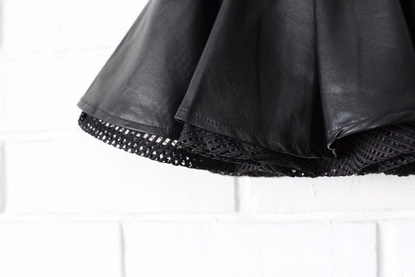 PU LEATHER Circular Skirt