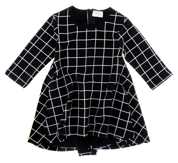 Black Grid TWIRL Dress