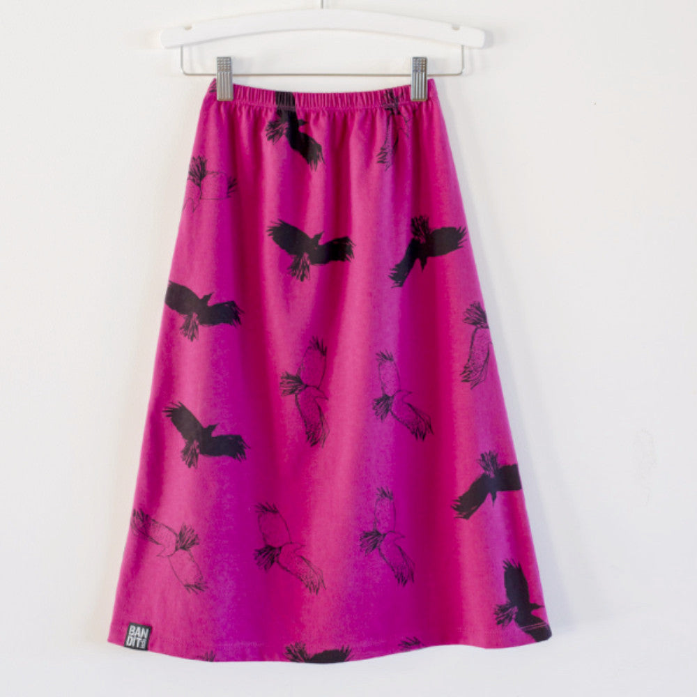 MAXI SKIRT SPOOKY BIRDS  - CHERRY