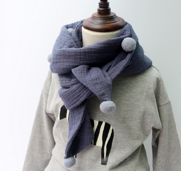 POMPOM Cotton scarf
