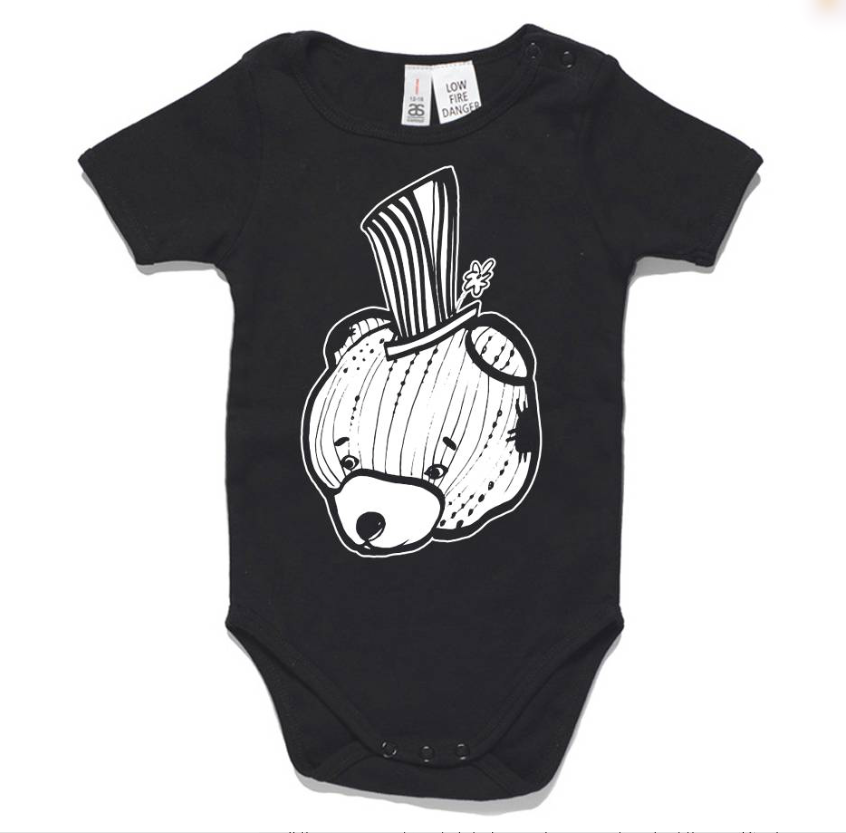 Iggy black bear onesie