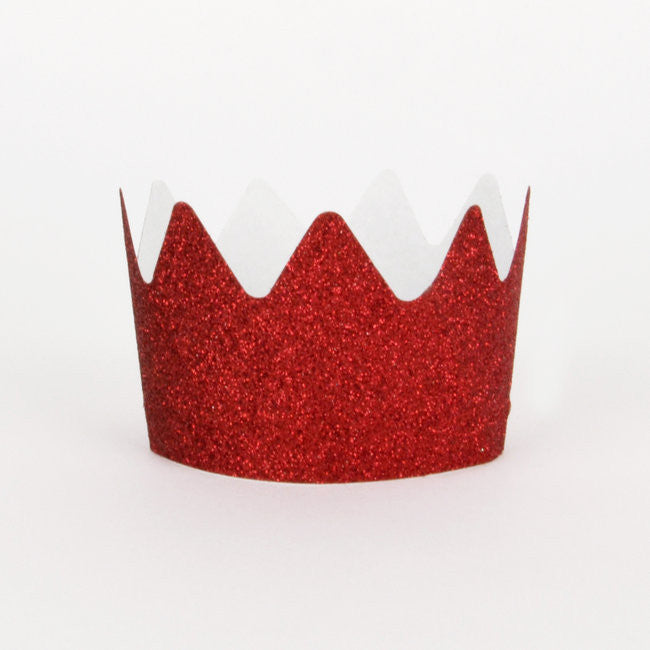 red glitter crowns
