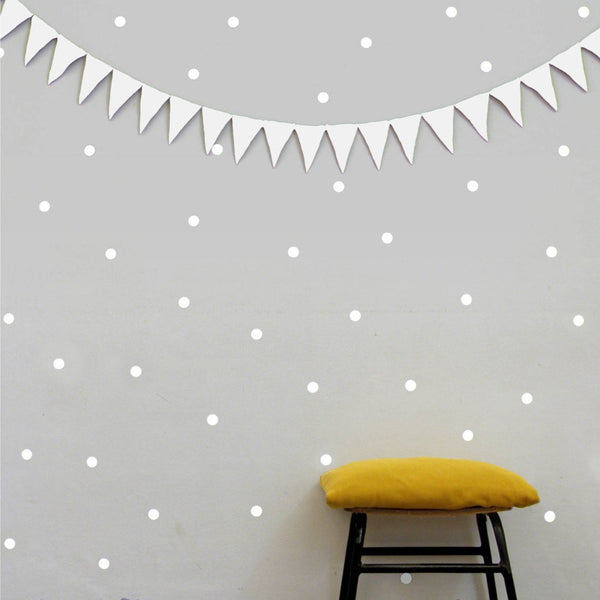 WHITE DOTS VINYL WALL DECALS