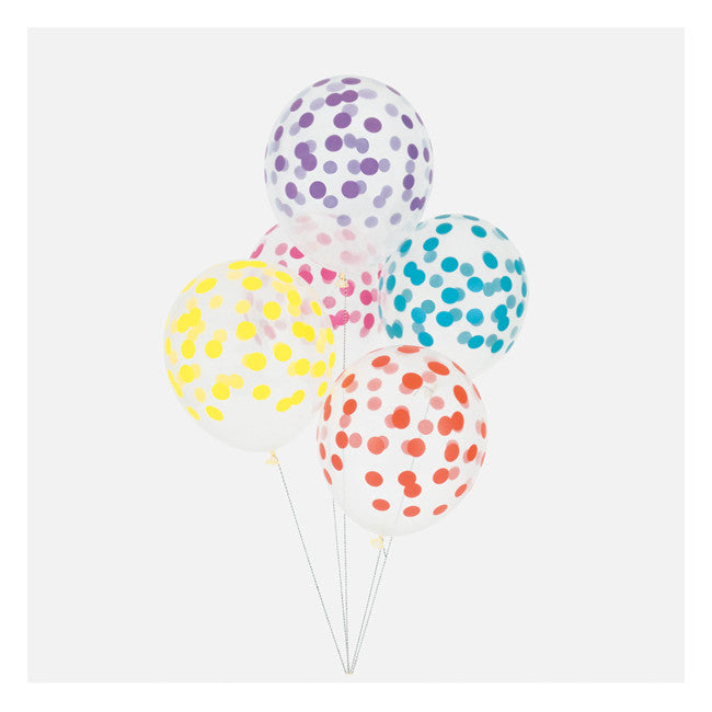 multicolour polka dots balloons (packet of 5)