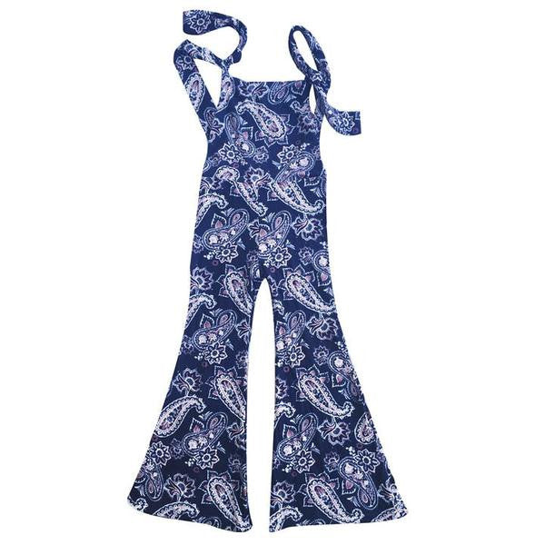 Sadie Blue Paisley Stretch Knit Bell Overalls