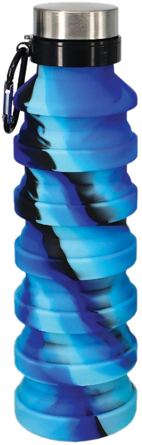 Water Bottle Blue And Black Collapsible