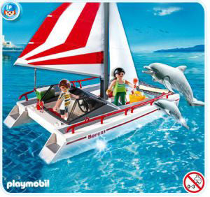 Catamaran with Dolphin