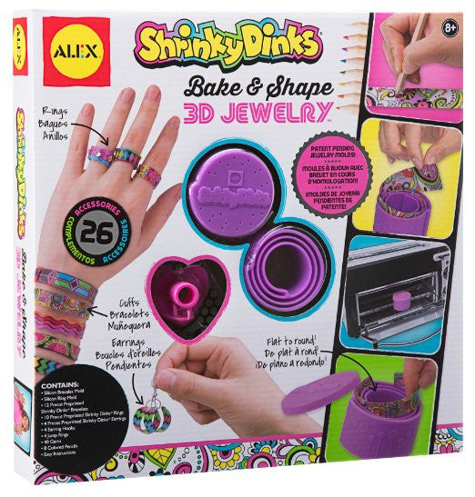 3D Jewelry Shrinky Dinks Bake & Shape