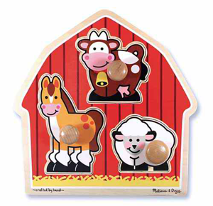 Barnyard Animals Jumbo Knob 3pc Wooden Puzzle