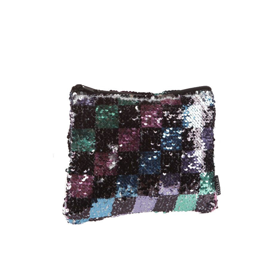 Checkerboard Sequin Pouch