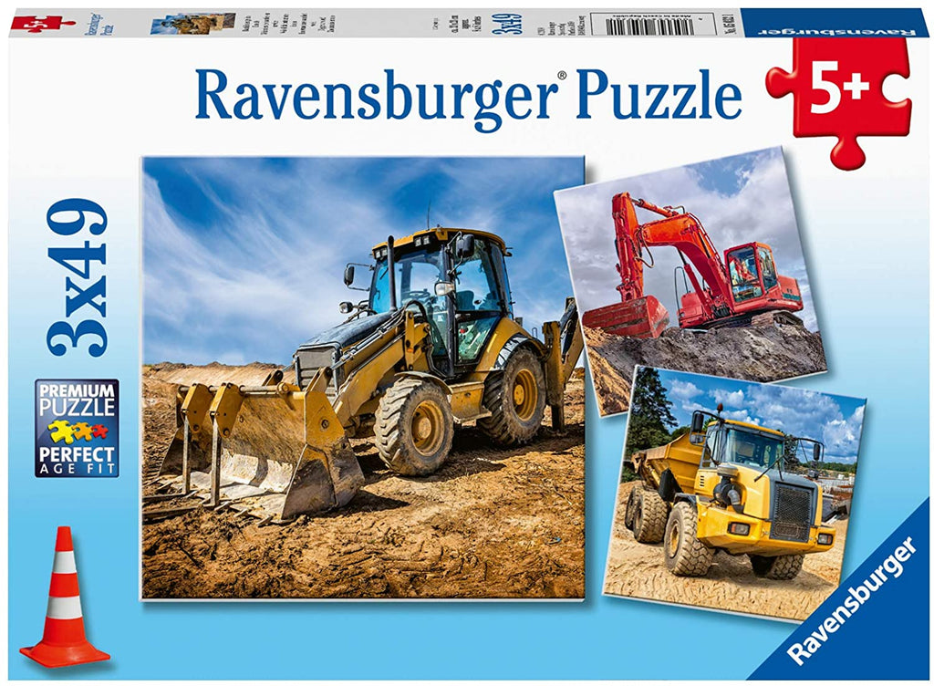 Diggers At Work 3 x 49 pc Puzzle