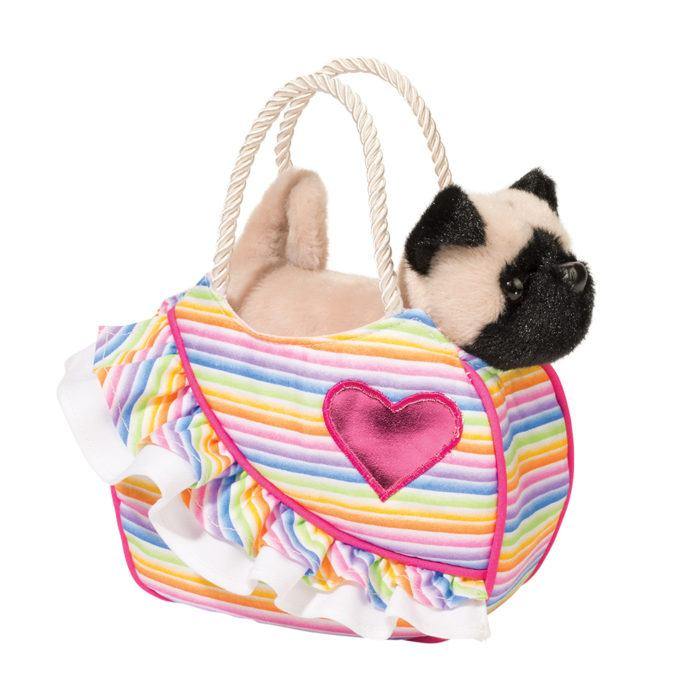 Christine Clarke's Sassy Kids Fashion I Love Rainbows Sak w/Pug