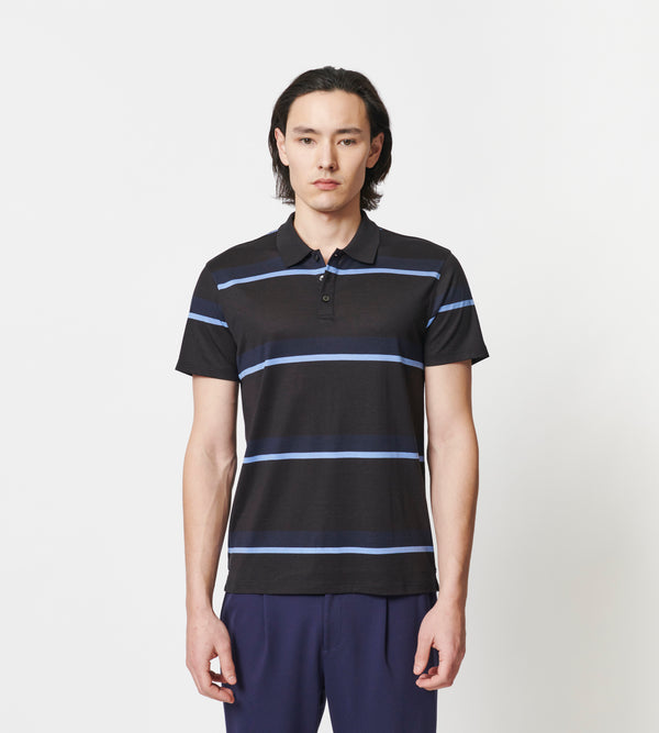 MEN'S SILK AND COTTON STRIPE POLO - PATRICK ASSARAF