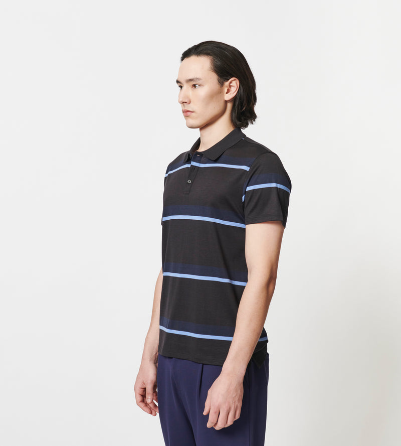 MEN'S SILK AND COTTON STRIPE POLO | PATRICK ASSARAF | Luxury Fashion.
