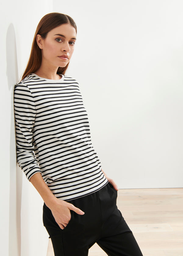LIGHTWEIGHT PIMA COTTON STRETCH STRIPE CLASSIC T-SHIRT | PATRICK ASSARAF | Luxury Fashion.
