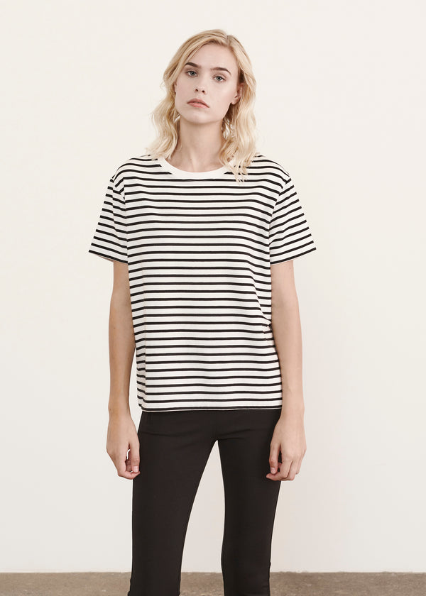 LIGHTWEIGHT PIMA COTTON STRETCH STRIPE BOYFRIEND T-SHIRT | PATRICK ASSARAF | Luxury Fashion.