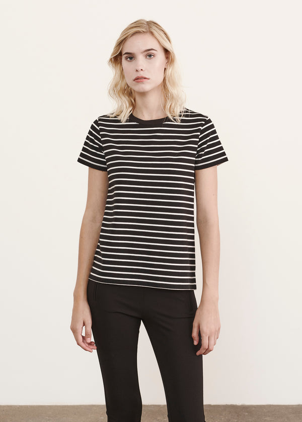 LIGHTWEIGHT PIMA COTTON STRETCH STRIPE CLASSIC T-SHIRT - PATRICK ASSARAF
