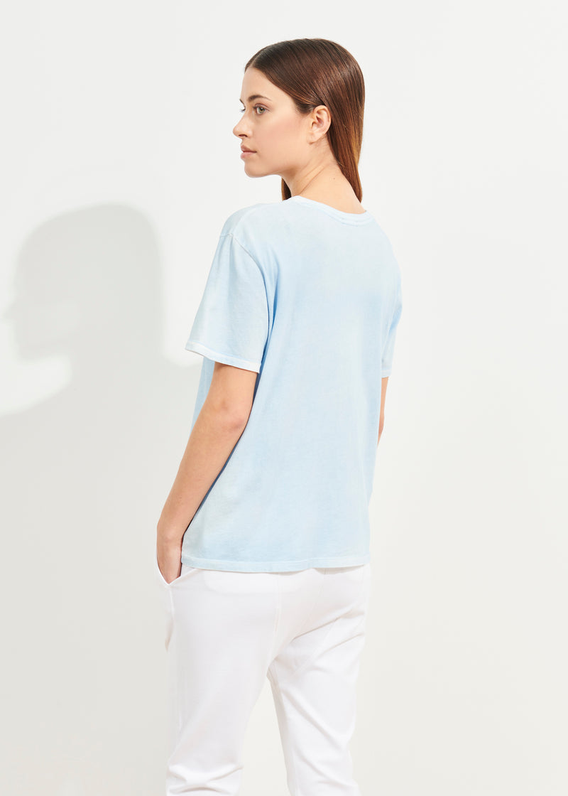 LIGHTWEIGHT PIMA COTTON SPRAY WASH BOYFRIEND T-SHIRT | PATRICK ASSARAF | Luxury Fashion.