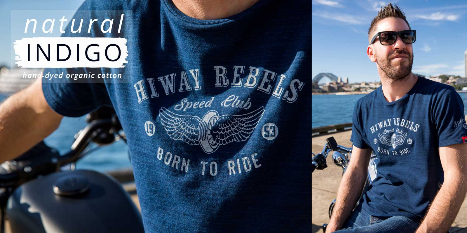 Close up of man wearing Hiway Rebels Indigo Couture t-shirts with Sydney Habour Bridge views in background