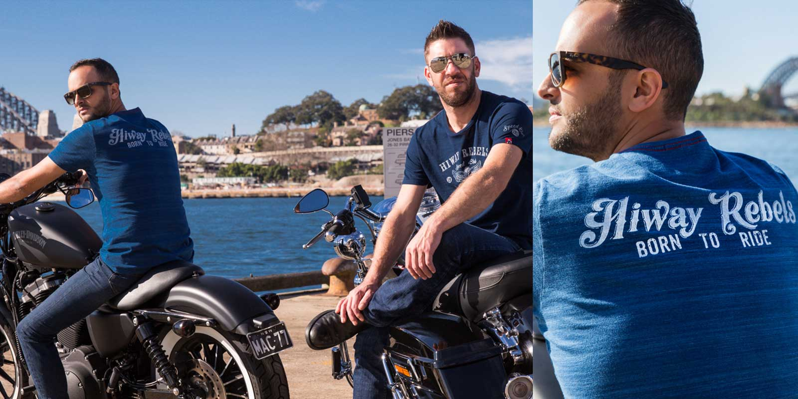 Two men on Harley Davidson bikes wearing Hiway Rebel indigo t-shirts with water views in background.