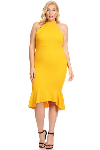 Anniversary Collection: Sleeveless mermaid midi dress Curvy Designer Collection (Mustard)