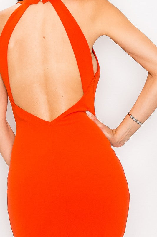 Anniversary Collection: OPEN BACK HALTER DRESS (Orange), Dresses - Designs By Cece Symoné
