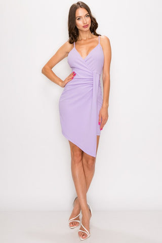 Anniversary Collection: RUCHED SURPLICE ASYMMETRICAL DRESS (Lavender)