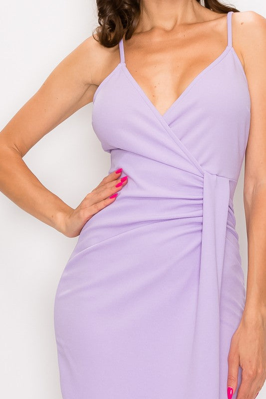 Anniversary Collection: RUCHED SURPLICE ASYMMETRICAL DRESS (Lavender), Dresses - Designs By Cece Symoné