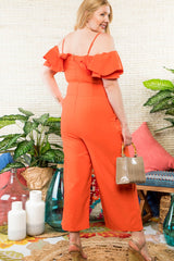Anniversary Collection: Off Shoulder Tulip Ruffle Jumpsuit Curvy Designer Collection (Orange), Jumpsuit - Designs By Cece Symoné