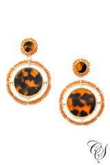 Acetate and Beaded Disc Drop Earrings