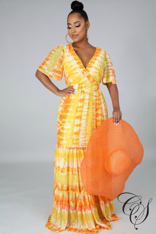 Aerial Sunset Maxi Dress