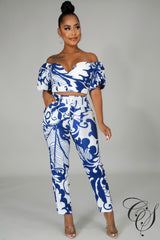 Alivia Off Shoulder Puff Sleeve Top and Pants Set