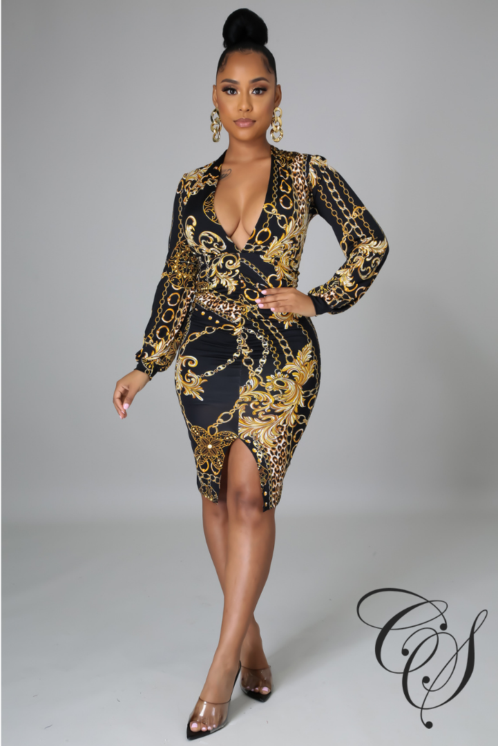 Allegra Chain Print Midi Dress