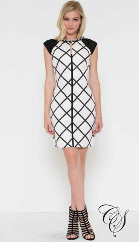 Amanda Black and White Windowpane Checker Sheath Dress