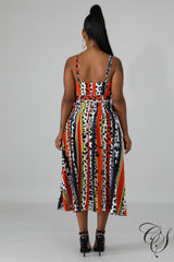 Amber Animals Stripe Belted Midi Dress, Dresses - Designs By Cece Symoné