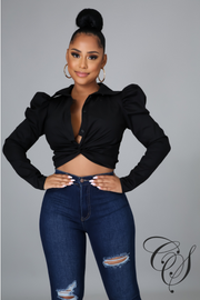 Amika Twist Front Puff Shoulder Long Sleeve Crop Shirt