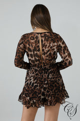 Angelica Flaring Sheer Leopard Romper, ro - Designs By Cece Symoné