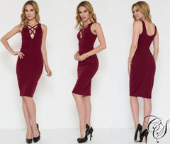 Annabell Strappy Neck Detailed Pontie Verona Dress, Dresses - Designs By Cece Symoné