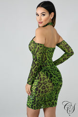 Aria Cheetah Mesh Bodycon Dress