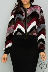 Ashlynn Multi Faux Fur Varsity Jacket, coat - Designs By Cece Symoné