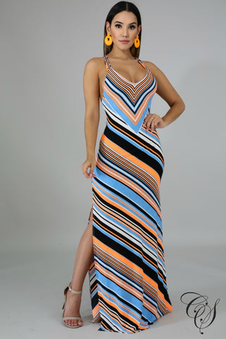 Athena Chevron Neon Maxi Dress