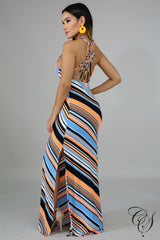 Athena Chevron Neon Maxi Dress, Dresses - Designs By Cece Symoné