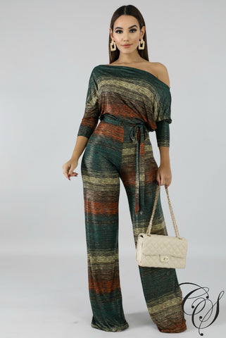 Autumn Drape Shine Jumpsuit