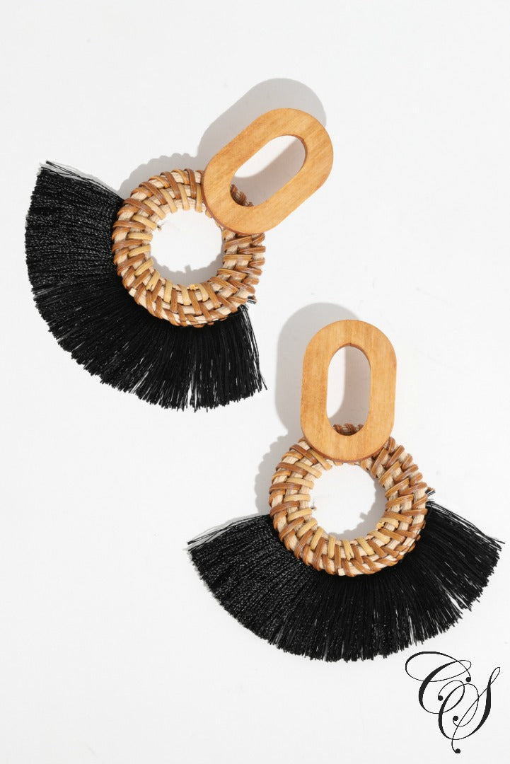 Braided Disc Drop Fringe Earrings, earrings - Designs By Cece Symoné