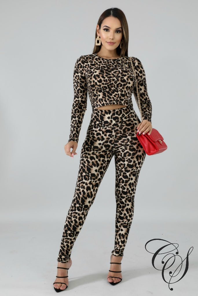 Brina Leopard Crop Top Set, Set - Designs By Cece Symoné