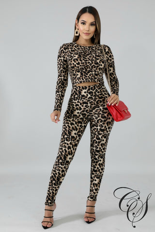 Brina Leopard Crop Top Set