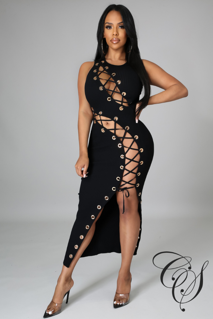 Brit Ribbed Knit Lace Up Midi Dress