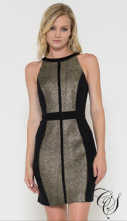 Cara Black/Gold Metallic Ponte Sheath Dress, Dresses - Designs By Cece Symoné