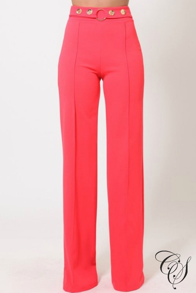 Carlee High Waist Pants With Button Detail