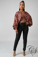 Casey Cheetah Kimono Crop Top, Top - Designs By Cece Symoné